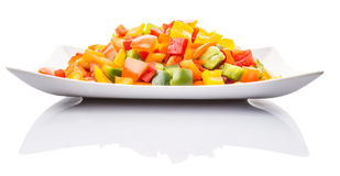 Mix Colorful Chopped Capsicums In White Plate IV Stock Photography