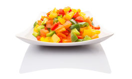 Mix Colorful Chopped Capsicums In White Plate IX Royalty Free Stock Photos