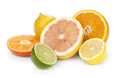 Mix of colorful citrus fruit Stock Photos