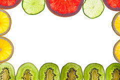 Mix of colorful citrus fruit on white Stock Images
