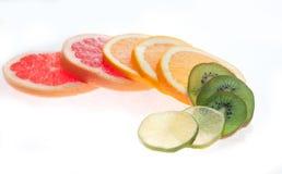Mix of colorful citrus fruit on white. Background Stock Photo