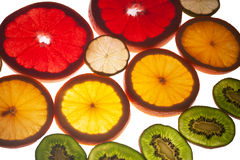 Mix of colorful citrus fruit on white. Background Stock Photography