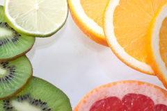 Mix of colorful citrus fruit on white Royalty Free Stock Photo