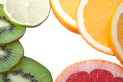 Mix of colorful citrus fruit on white Stock Image