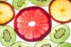 Mix of colorful citrus fruit on white. Background Stock Image