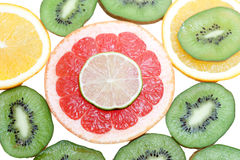 Mix of colorful citrus fruit on white Stock Photo