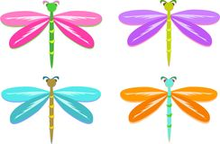 Mix of Colorful Dragonflies Royalty Free Stock Images