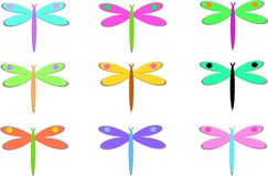 Mix of Colorful Dragonflies with Dots Royalty Free Stock Photography