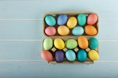 Mix of colorful dyed Easter chicken eggs stock photography