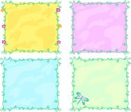 Mix of Colorful Frames of Vines and Decorations Royalty Free Stock Photos