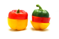 Mix colorful paprika (pepper). Isolated on a white background royalty free stock image