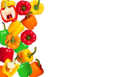 Mix colorful paprika on white background. Mix colorful paprika on white table background Stock Photo
