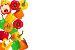 Mix colorful paprika on white background. Mix colorful paprika on white table background stock photo