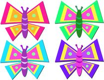 Mix of Colorful Stylized Butterflies Royalty Free Stock Image