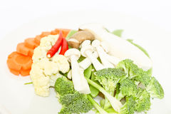 Mix colorful vegetables and herb on white background Royalty Free Stock Photos