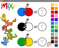 Mix colors educational activity Royalty Free Stock Photo