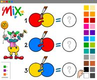 Mix colors educational game with clown. Cartoon Illustration of Mixing Colors Educational Game for Children with Clown Character Royalty Free Stock Images