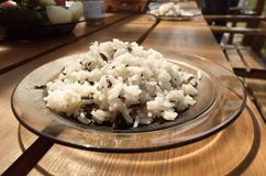Mix of the cooked long grain rice and wild rice royalty free stock images