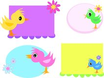 Mix of Cute Bird Tags Royalty Free Stock Photo