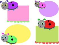 Mix of Cute Bug Tags Royalty Free Stock Image
