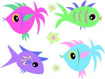Mix of Cute Fish and Flowers. Here is a collection of different types of fish and hibiscus flowers Stock Image