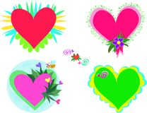 Mix of Decorated Hearts Stock Image