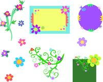 Mix of Decorated Message Boards and Flowers Stock Photography