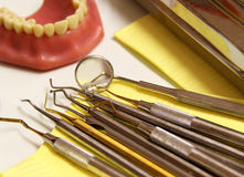 Mix of Dental tools in stomatological clinic Stock Photo