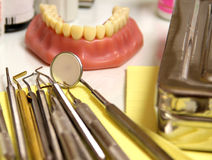 Mix of Dental tools in stomatological clinic Royalty Free Stock Photography