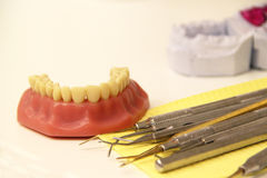Mix of Dental tools in stomatological clinic Royalty Free Stock Photo