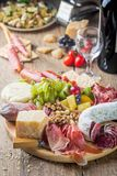 Mix of different appetizers stock images