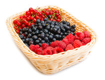 Mix of different berries in basket Royalty Free Stock Photos