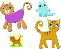 Mix of Different Cats and Kittens Stock Image