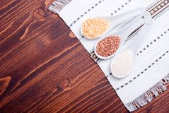 Mix of different cereals on the board dietetic food Stock Photography