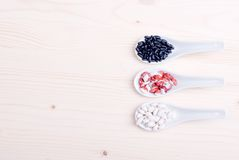 Mix of different cereals on the board dietetic food Stock Images