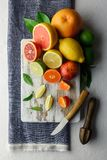 Mix of different citrus fruits closeup stock photos