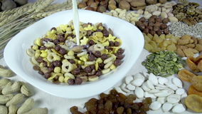 Mix of Different Cornflakes stock footage