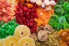 Mix of different dried fruits royalty free stock photo