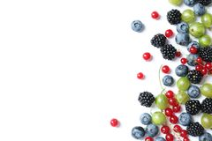 Mix of different fresh berries. On white background stock images