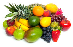 Mix of different fruits isolated on white backgrou Stock Photography