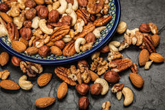 Mix of different nuts closeup photo Stock Photo