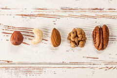Mix of different nuts closeup photo Royalty Free Stock Images