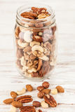 Mix of different nuts closeup photo Stock Images