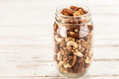 Mix of different nuts closeup photo Royalty Free Stock Photos