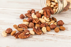 Mix of different nuts closeup photo Stock Photography