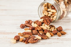 Mix of different nuts closeup photo Royalty Free Stock Photo