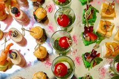 Mix of different snacks and appetizers. Spanish tapas on a table. Tapas bar. Deli, sandwiches, olives, sausage, anchovies, cheese, royalty free stock photography