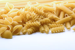 A mix of different types of pasta. Image of a selection of pasta Stock Photo