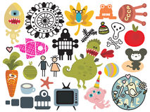Mix of different vector images. Royalty Free Stock Images