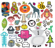 Mix of different vector images. Royalty Free Stock Photo